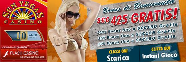bonus di benvenuto Sun Vegas Casino