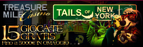 100% fino a €500 gratis al casinò online in italiano Treasure Mile
